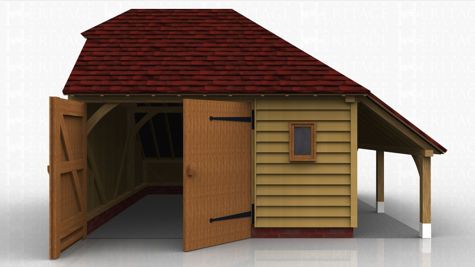 This oak frame garage has both an internal an external covered storage area with barn hip and hipped roof ends.