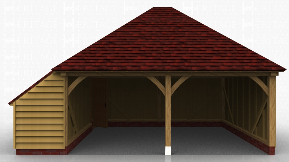 This oak framed garage has two open bays and an enclosed store to the left hand side.