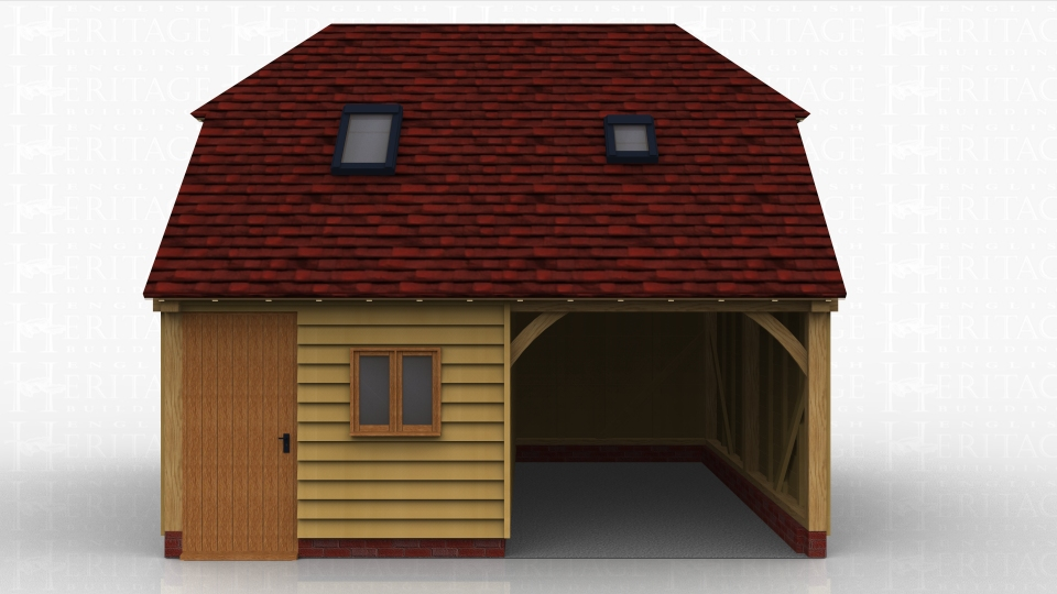 This oak framed two storey garage has two bays, one open and one enclosed. The enclosed bay is accessed by a single door to the front and has access to the first floor via a hatch. There are trimmings for two rooflights.