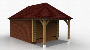 This oak framed garage has one three bays, one small open bay and two larger enclosed bays. The enclosed bays are accessed by a set of garage doors to the left side.  The building has a high solid wall to the rear and two sets of two pane windows to the front.
