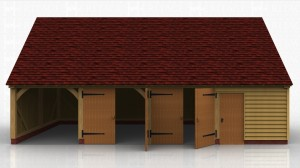 This oak framed garage has four bays; one open and three enclosed. Two bays are accessed by sets of garage doors and one has a single door to the front. The right side has a glazed gable and a two pane window.