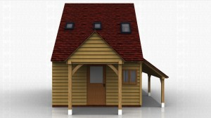 This two storey oak framed home leisure building is formed of three small enclosed bays and is accessed by a half glazed door to the front. There is also a two pane window. There are trimmings for three rooflights and an open store to the right hand side.