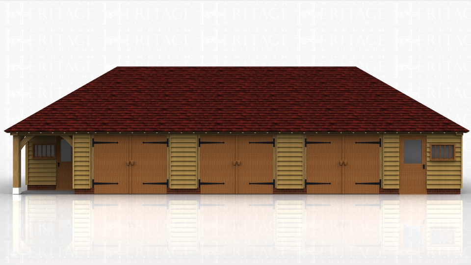 This oak framed garage has five bays, all enclosed. The two end bays are designed to be used as workshops or stores and are accessed via a single half glazed door to the front and a mullion window. The other three bays are accessed by a set of garage doors to the front and all the bays have an enclosed store to the rear. There are also trimmings for two rooflights.
