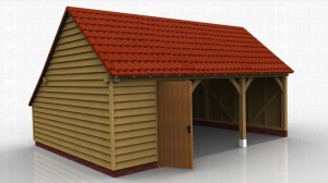 This oak framed garage is formed of three bays, one enclosed and two open. The enclosed bay is accessed by a single door to the front and can be used for storage. There is also an enclosed store to the rear of the building.