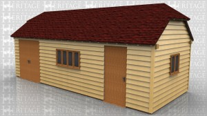 This oak framed home leisure building is formed of three enclosed bays. The left hand bay is accessed via a pair of double doors to the front. The centre bay has a four pane window to the front and the end bay has a single door. On the right hand side there is a two pane window.
