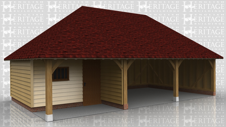 this oak framed garage has three bays, one enclosed and two open. The enclosed bay has a setback partition at the front creating a porch effect, and is accessed by a single solid door and a mullion window to the front.