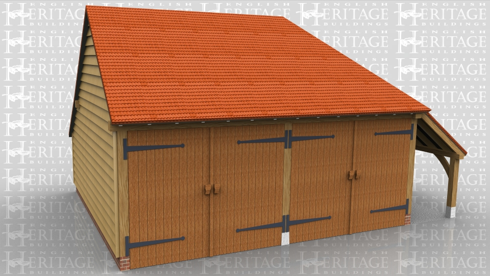 This oak framed garage is formed of two enclosed bays. The bays are accessed by two sets of garage doors to the front of the building and have an enclosed logstore to the rear. There is also an open store to the right hand side.