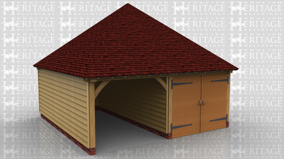 A 2 bay garage with one side secured with a partition and garage doors. It has a fully hipped roof which meets at a point.