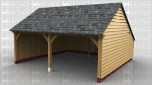 A 2 bay open fronted garage with rear catslide to give added depth and keep ridge height down. It also has a low roof pitch with a slate covering.