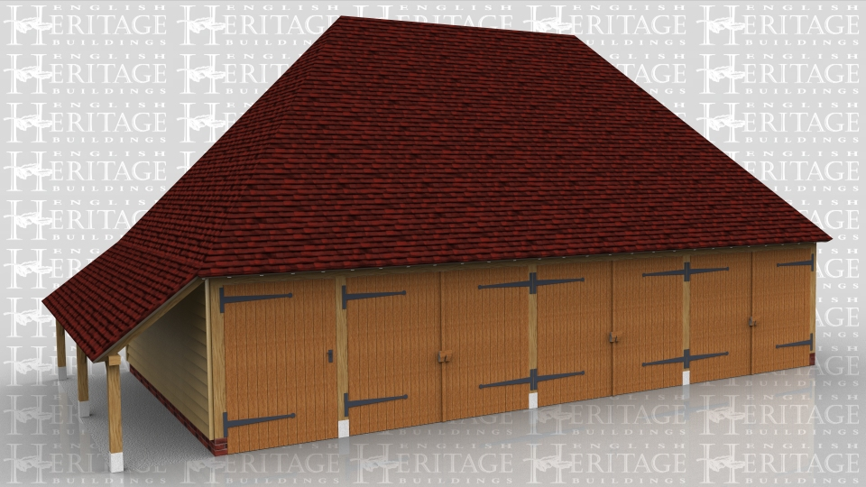 This oak framed garage building has three enclosed garage bays with garage doors to the front. There is one smaller enclosed bay accessed by a single door to the front and designed to be used as a store. There is also an open logstore to the left side.