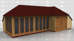 This oak framed building combines a two bay summerhouse and a single bay garage.The summerhouse has glazing on two sides and a catslide at the rear and the side. The single garage also has an enclosed catslide to the rear and a set of garage doors to the front.