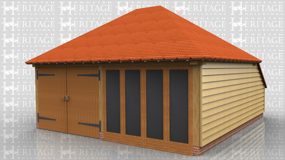 This two bay oak framed garage building  combines a single garage bay secured with garage doors at the front and a single bay garden room / summerhouse which has a glazed unit at the front with the centre two panes opening as doors. The roof is fully hipped and has a rear catslide to keep the ridge height down whilst giving more internal floor area.