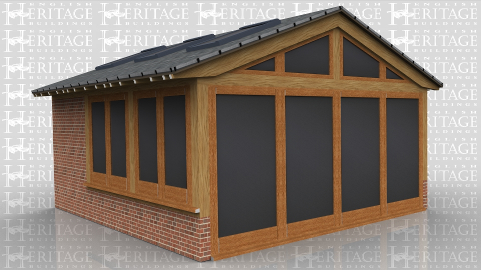 A 3 bay garden room extension where one bay is full height cavity brickwork. The front has full length glazed units with the centre two opening as doors. the side windows are sitting on low cavity walls. This building also has a glazed gable and 6 rooflights.