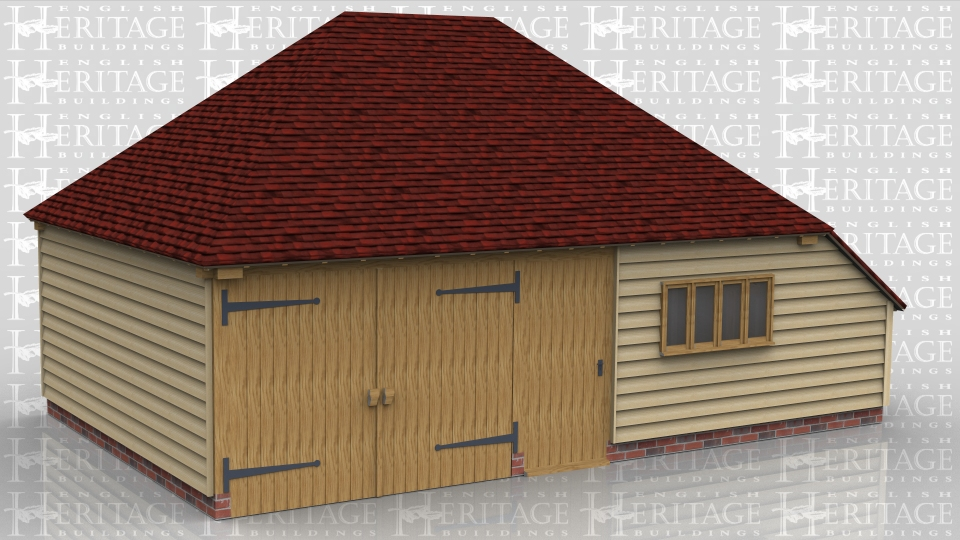 This oak framed two bay building has one garage bay secured with garage doors to the front. The second bay is accessed via a single door to the front and is designed to be used as a store or workshop. It also has an enclosed store to the left side.