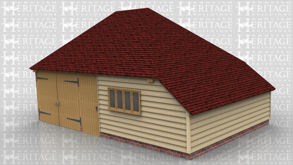 2 bay oak frame garage storage workshop area ws00305 for Two bay garage