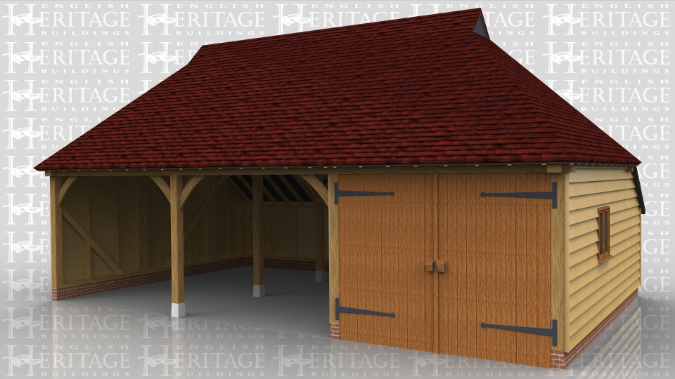 This three bay garage has two open parking spaces and one bay enclosed with garage doors. The roof has leaded gablets both ends and a catslide to the rear.