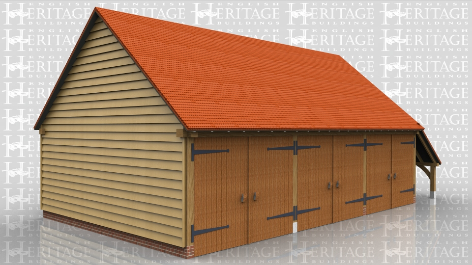 This three bay garage has gable ends and a log store to the right hand side. All three bays have traditional side hung garage doors and there is also a front to rear partition that divides the building into two secure sections.