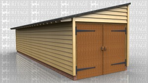 WS00309 Oak framed long, one bay mono-pitch garage