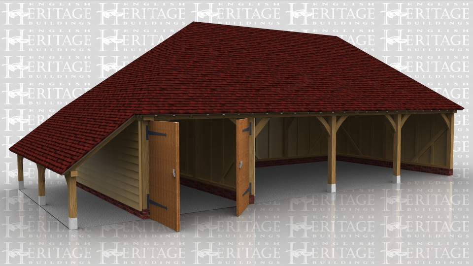 This is a four bay garage with hipped ends and a log store on the left hand side. There are 3 open garage bays and one is enclosed with a partition and a pair of traditional side hung garage doors.
