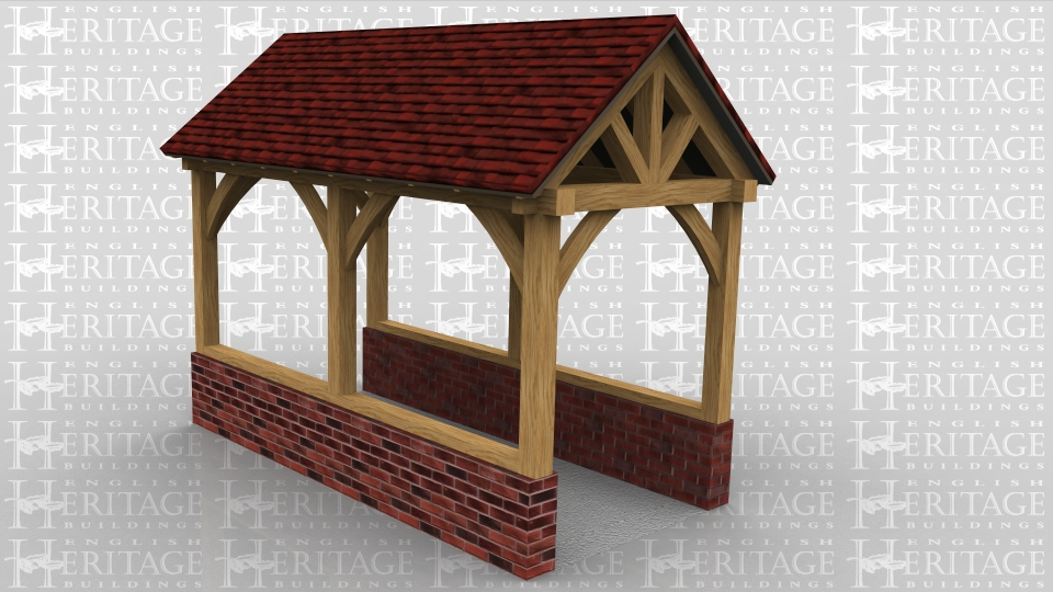This is a Lych-Gate used as an entrance, usually to a church. It has open sides and sits on a dwarf brick wall. There are feature trusses at each end and the sides are open showing the curved knee braces.