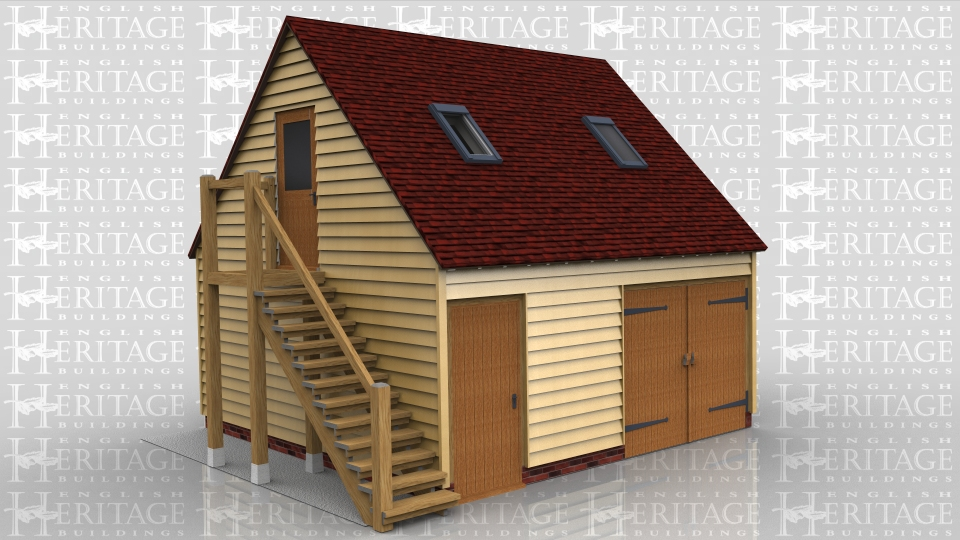 This 2 bay building has one garage bay secured with traditional side hung garage doors with a seperate workshop / store accessed by a solid single door. The building is a raised plate design and the first floor is accessed via an external oak staircase. There is a 2 light window in the gable end and 2 Velux rooflights in the front roof slope.