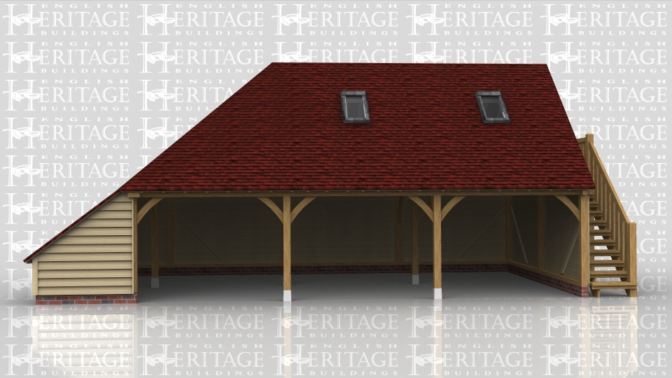 This oak framed three bay open fronted garage has a first floor accessed via an external oak staircase on the right hand side. The roof has two rooflights and has a full hip and catslide on the left hand side.