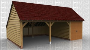 This oak framed garage building is formed of three bays, one enclosed and two open. The enclosed bay is accessed via a set of garage doors to the front and has an enclosed store to the rear.