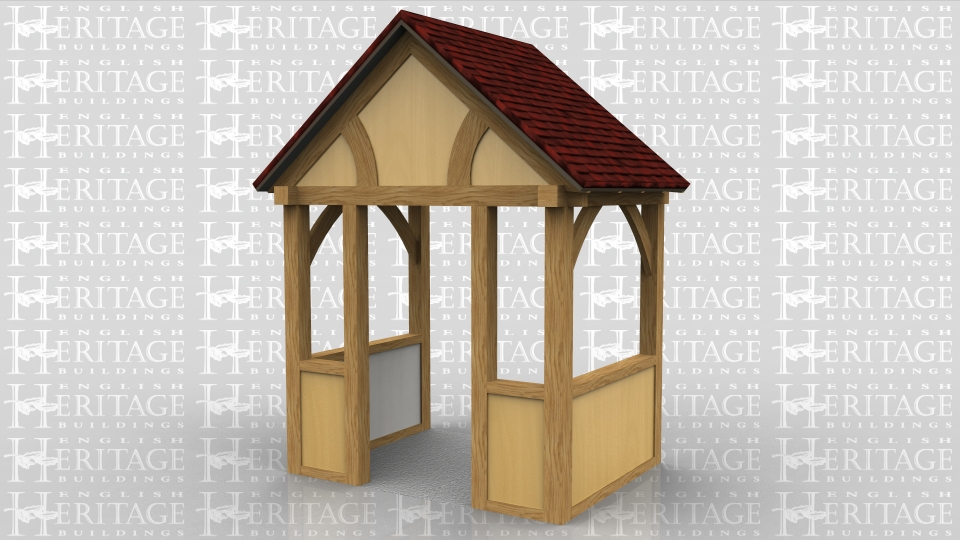 This is a porch to go over an entrance door. It has render infill panels on the lower sections and the gable.