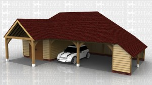 This building has 2 open garage bays with a logstore on the right hand end. The left hand bay is secured with partitions and accessed via a pair of solid single doors and has two rooflights for added light. There is a roof cover between this bay and the house.