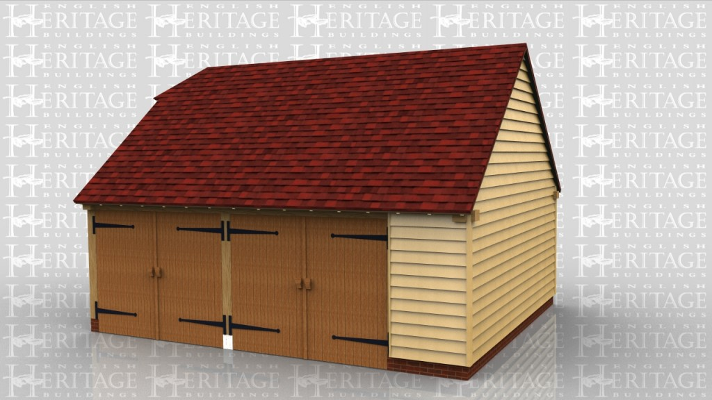 This is a 2 bay garage with traditional side hung garage doors. The right bay is wider than the right and there is a weatherboard panel at the front so that the doors are the same width as each other.