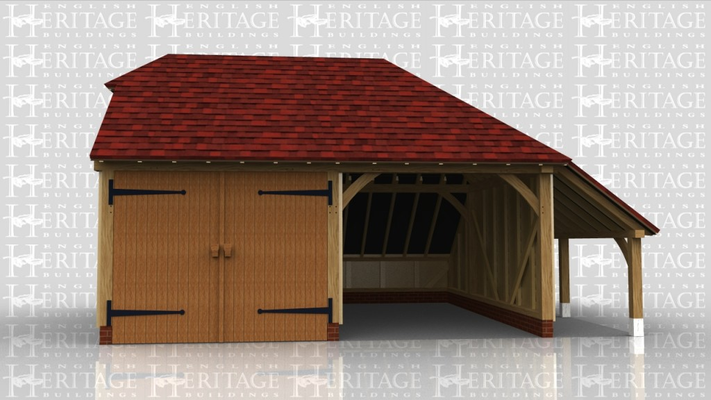 This is a two bay garage with side logstore. It has a catslide roof on the rear to keep the ridge height below 4m whilst giving more internal floor area. One side is secured with garage doors whilst the other side is an open parking space.