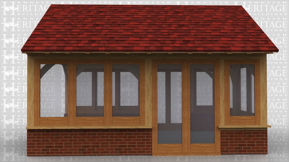 This is a 2 bay garden room extension with full height french doors both sides and joinery on dwarf cavity brickwork elsewhere. The rafters are in oak with feature trusses and a warm roof construction.