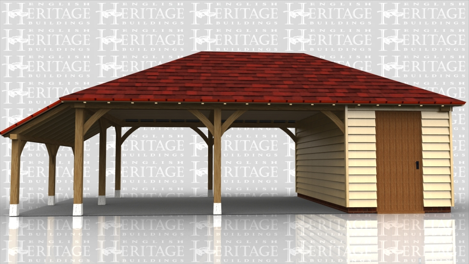 This building is a 2 bay carport with open sides and the third bay is split into 2 seperate store rooms, one accessed by a solid single door and the other by a pair of solid doors. The roof is double hipped with an open logstore on the left hand end.