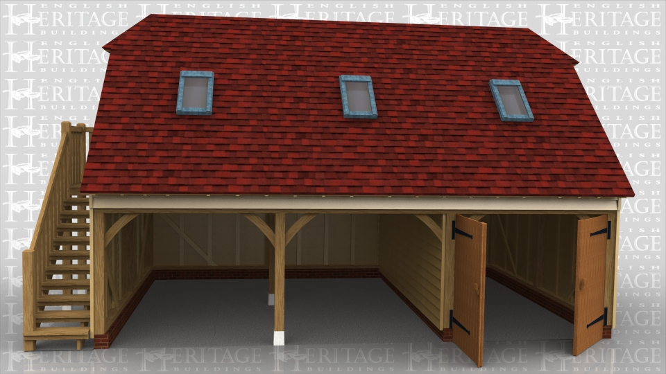 This 3 bay raised plate building has 2 open garage bays and one bay secured with a pair of garage doors and a partition. There is an external oak staircase on the left hand end leading to a half glazed single door. There is a 2 pane escape window in the end and 3 rooflights in the front roof slope. The roof ends are barn hips and the rafters are softwood with a cold roof insulation.