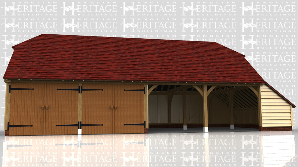 This oak framed four bay garage has two enclosed bays with garage doors and two bays open at the front. It has barn hip roof ends and a catslide on the right hand end.