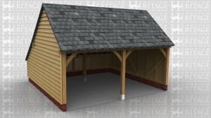 This is a two bay open fronted garage with gable ends and a rear catslide.
