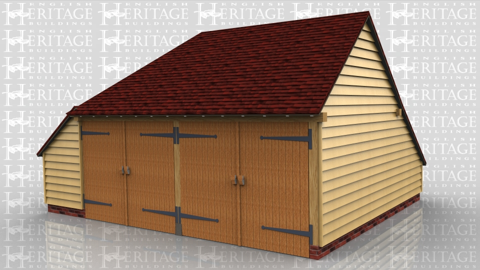 This two bay garage is enclosed with 2 pairs of traditional side hung garage doors on the front. It has a catslide roof on the rear and left hand side.