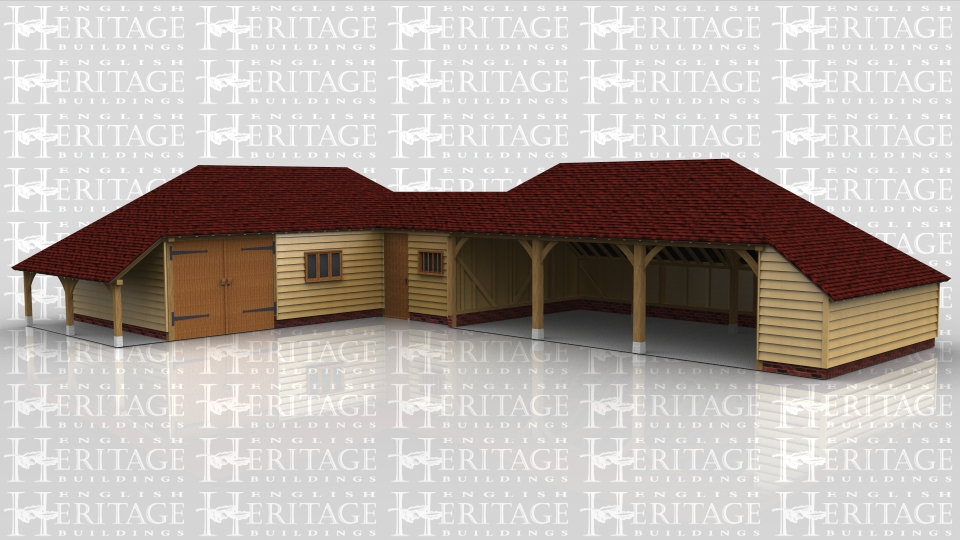 This oak framed complex is formed of three frames; the first is a three bay garage with an open logstore to the left side. It is accessed by a single set of garage doors to the front and also has a three pane window. The second frame is a single bay store/workshop that functions as a link between the two frames. It is accessed via a single door to the front and has a mullion window. The third bay is a three bay open garage with an enclosed store to the right side and to the rear.