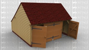 This is a 2 bay garage with gable ends and a rear catslide. It has 2 pairs of garage doors on the front to make it secure.