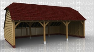 This is a 3 bay open fronted garage with barn hip ends and rear catslide.