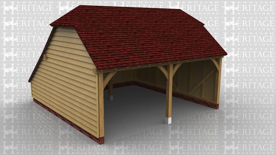 This is a two bay open fronted garage with barn hip ends and a rear catslide to keep the ridge below 4m whilst maximising the internal floor area.
