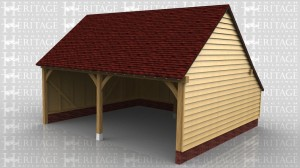 This is a two bay open fronted garage with gable ends and a catslide roof at the rear.