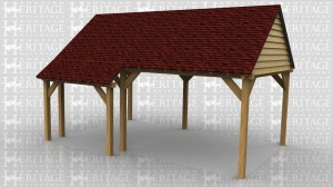 WS00362 Open sided oak framed car port