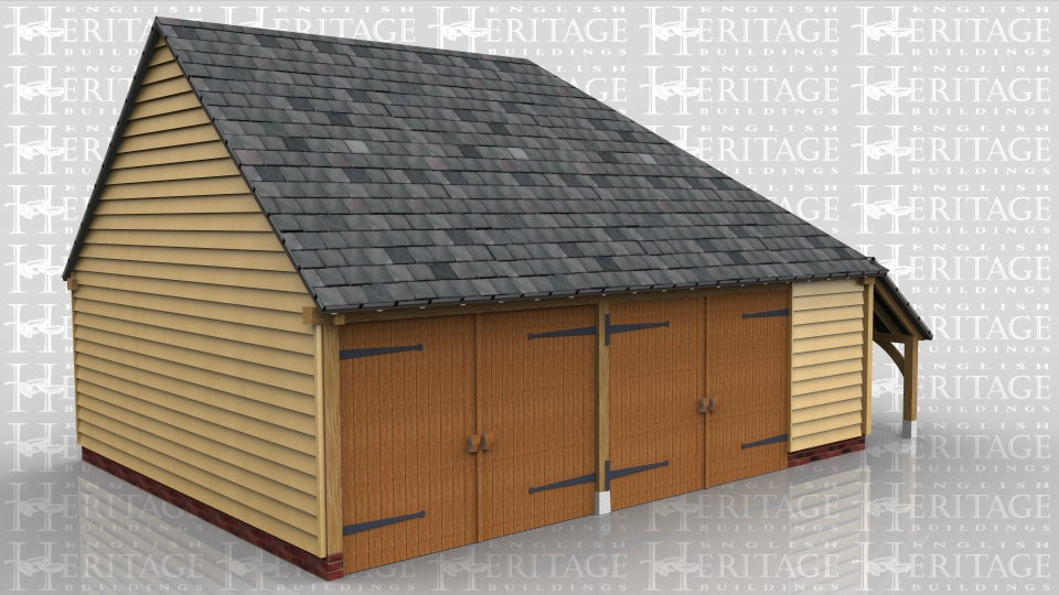 This building has 2 full size garage bays with garage doors to the front and the third bay is slightly smaller and has a partition at the front. There is a catslide roof on the right hand side which is divided in half so that the front half is accessed from outside for logs and the back portion is accessed from the inside to give more secured storage space.