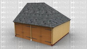 This 2 bay garage has a gable on the left and a full hip on the right and the roof has a slate covering. The garage is secured at the front with two pairs of garage doors.