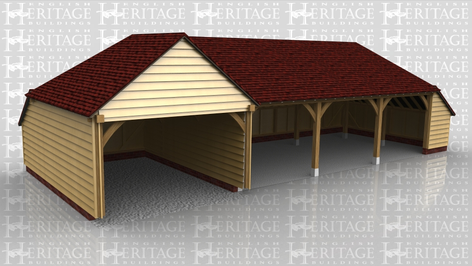 This is a 4 bay open fronted garage which has a wide opening on the left hand side. This left bay is also slightly deeper to accomodate a larger vehicle. The other 3 bays are standard size and there is a catslide roof on the right for storage.