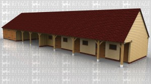 This 9 bay building has 2 seperate garages, both with garage doors to the front, 3 open bays used as a hay barn, then 3 stables and finally a feed store / tack room on the end. Each stable has a stable door and mullion window and the tack room has a mullion window and a solid single door. The fronts of the stables are set back so there is a walk way along the front.