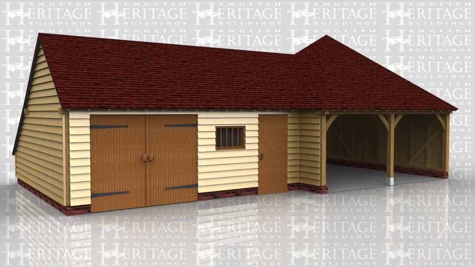 This building comprises of a square 2 bay open fronted garage with double hipped roof and another two bay connected to it which has one car space and a workshop / store area that is enclosed with a partition and pair of garage doors.