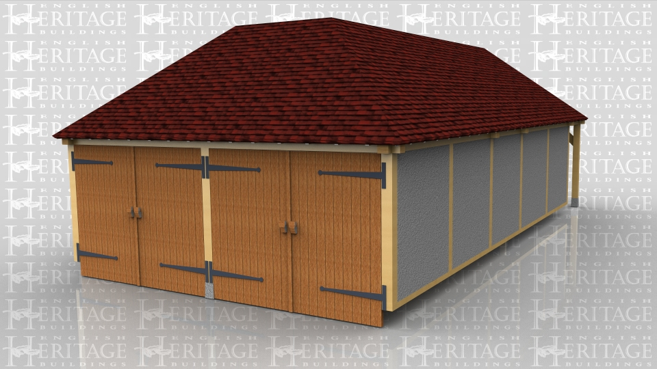 This building has a 2 bay garage secured with two pairs of garage doors and a seperate storage area at the rear. The store has a pair of solid doors and two mullion windows whilst the garage has a solid single door in the side. One complete side is infilled with blockwork which has then been rendered.