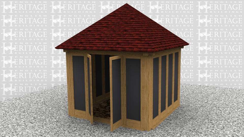 This is a small summerhouse with glazing on 3 sides and weatherboarding on the fourth. This wall is also insulated and the roof has oak rafters with an insulated warm roof construction.